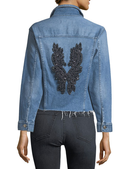 Burke Button-Front Cropped Denim Jacket w/ Released Hem