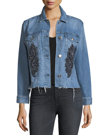 3x1 Burke Button-Front Cropped Denim Jacket w/ Released