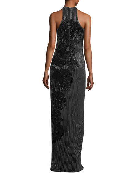 Allover Beaded Sleeveless Halter Evening Gown