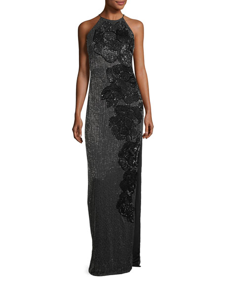 Badgley Mischka Allover Beaded Sleeveless Halter Evening Gown