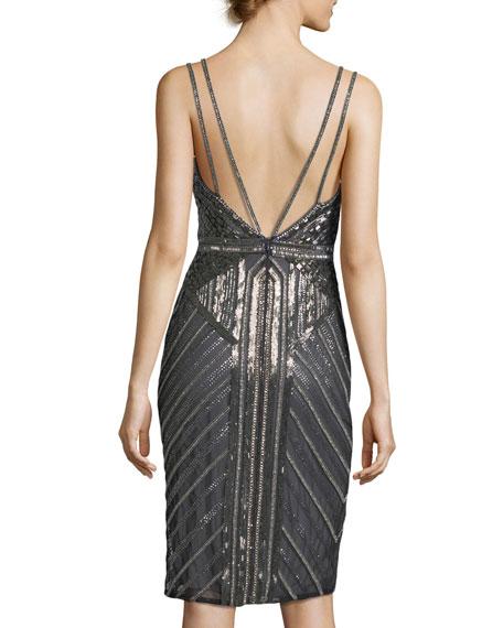 Sleeveless Double-Strap Embellished Cocktail Sheath Dress