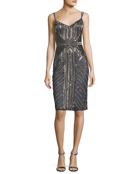 Theia Sleeveless Double-Strap Embellished Cocktail Sheath Dress