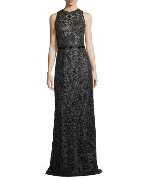 Sleeveless Jewel-Neck Lace Evening Gown