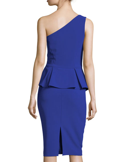 One-Shoulder Ruffled Peplum Cocktail Dress