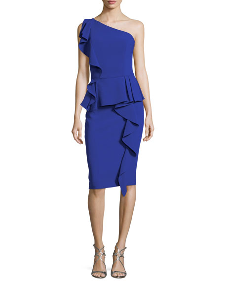Theia One-Shoulder Ruffled Peplum Cocktail Dress