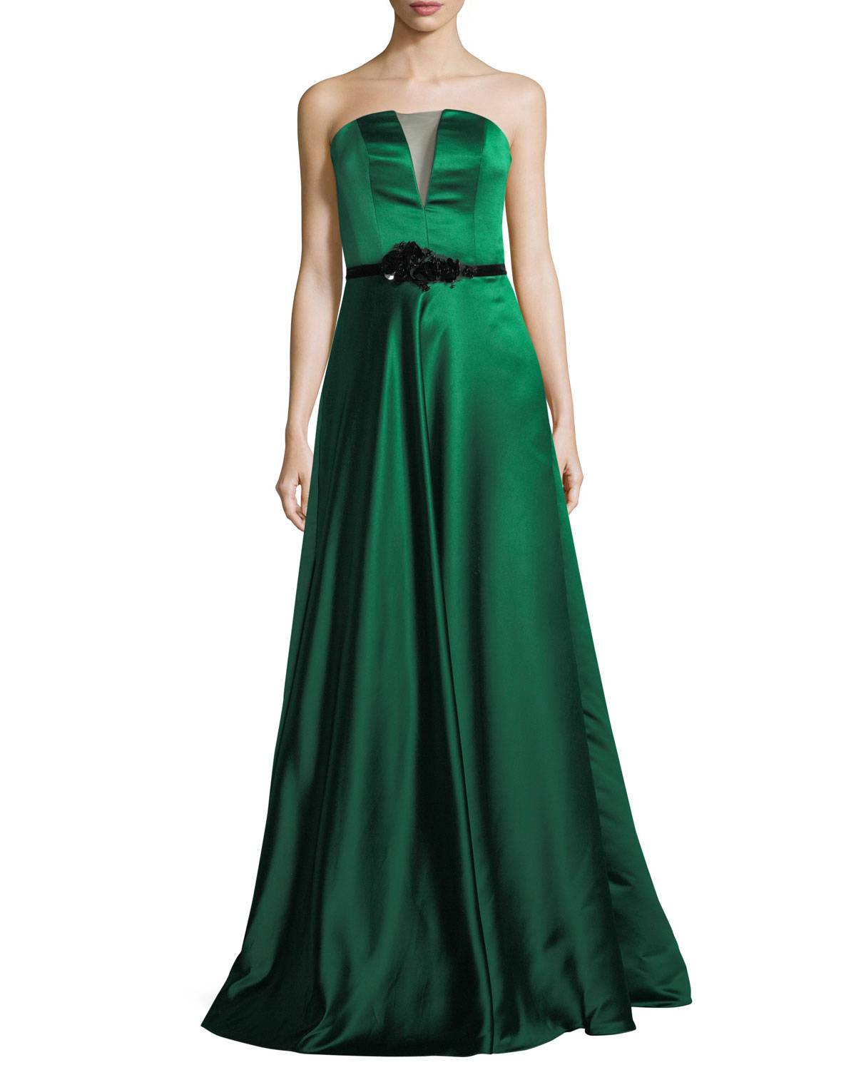 Theia Strapless Double-Faced Satin Evening Gown | Neiman Marcus