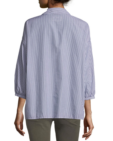 The Easy Striped Button-Front Cotton Shirt