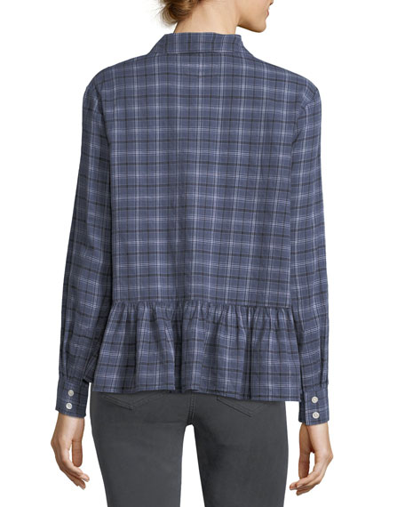 The Ruffle Long-Sleeve Plaid Oxford Shirt