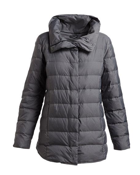 Melange Quilted Down Jacket, Petite