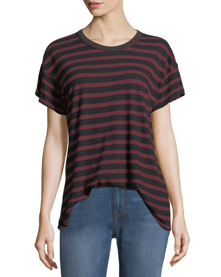 The Great The Boxy Crewneck Striped Cotton Tee