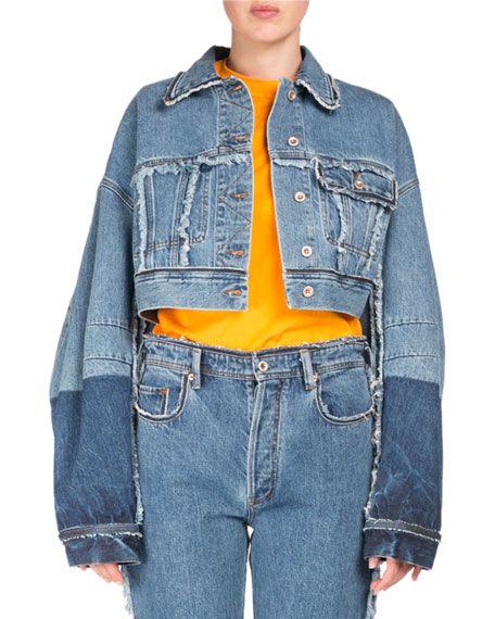 Acne Studios Kremi Two-Tone Cropped Distressed Denim Jacket