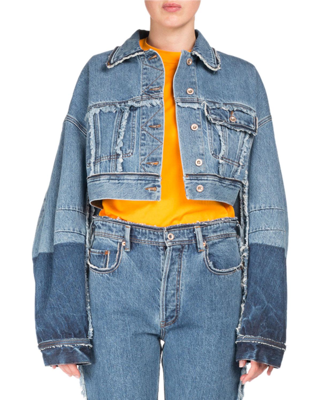 8dbb576ba756 Acne StudiosKremi Two-Tone Cropped Distressed Denim Jacket w  Raw-Edges