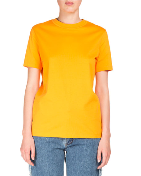 Acne Studios Taline Crewneck Back-Seam Cotton T-Shirt