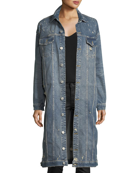 Hudson Aftermath Distressed Denim Duster Jacket