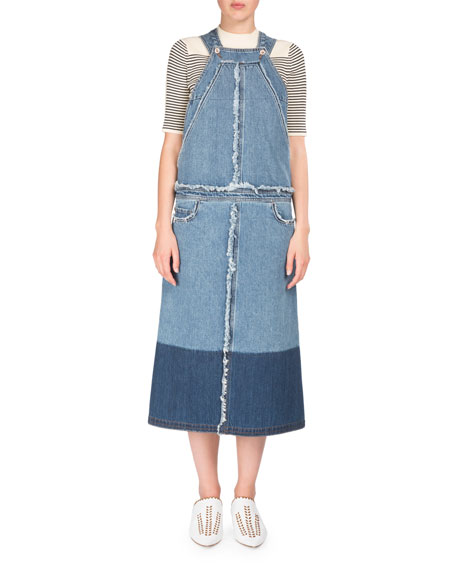 Jette Denim Skirt Overalls w/ Frayed Edges