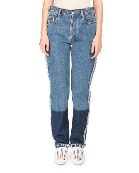 Acne Studios Mirja High-Waist Straight-Leg Two-Tone Denim Jeans