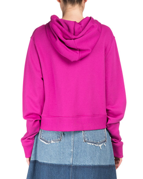 Bemke Hooded Zip-Front Crop Cotton Sweatshirt