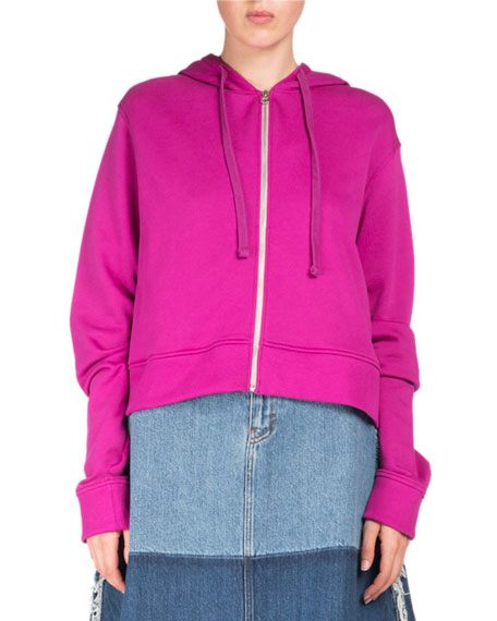 Acne Studios Bemke Hooded Zip-Front Crop Cotton Sweatshirt