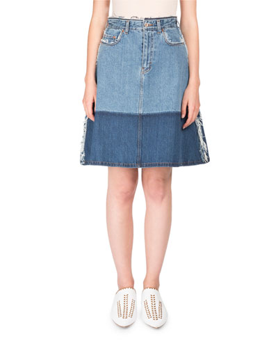 Halona High-Waist A-Line Two-Tone Denim Skirt