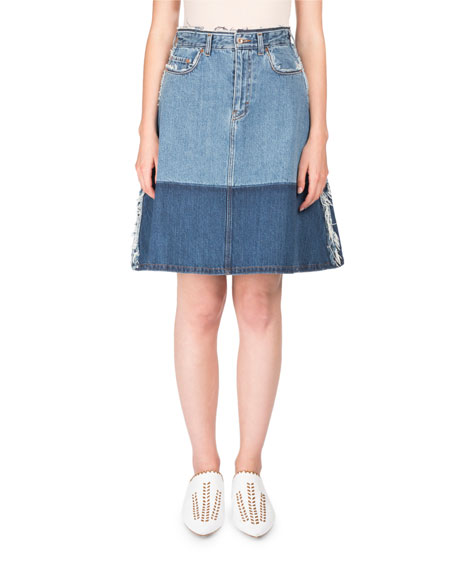 Acne Studios Halona High-Waist A-Line Two-Tone Denim Skirt