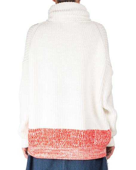 Poppy Chunky Long-Sleeve Turtleneck Sweater w/ Contrast Hem