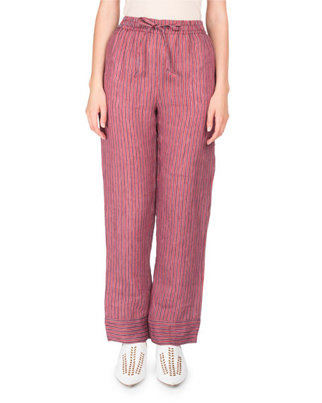 Marceline Drawstring Striped Straight-Leg PJ Pants