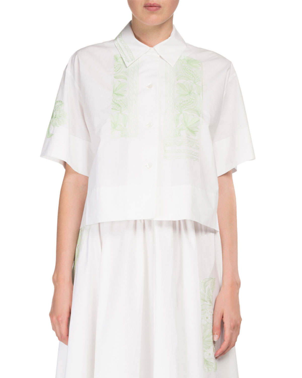 702b76c575cf Acne Studios Hella Full Cotton Skirt w  Floral Embroidery and ...
