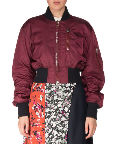Acne Studios Aila Zip-Front Bomber Jacket and Matching