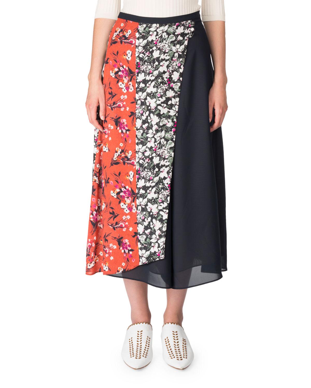 394477773c8b Acne Studios Hayett Mixed Floral-Print A-line Skirt   Neiman Marcus