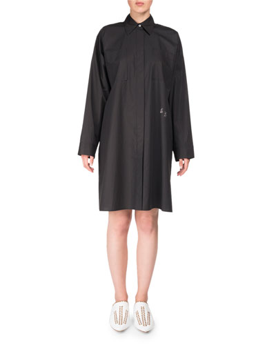 Spread-Collar Long-Sleeve Oversized Poplin Shirt Tunic