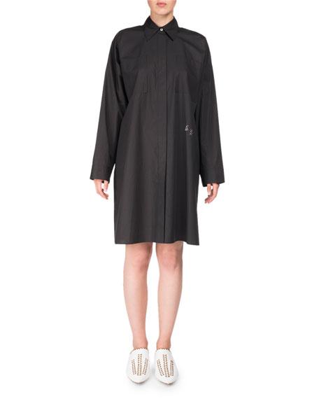 Spread-Collar Long-Sleeve Oversized Poplin Shirt Tunic