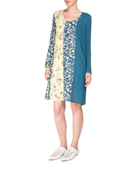 Jordy Mixed Floral-Print Scoop-Neck Chemise Dress