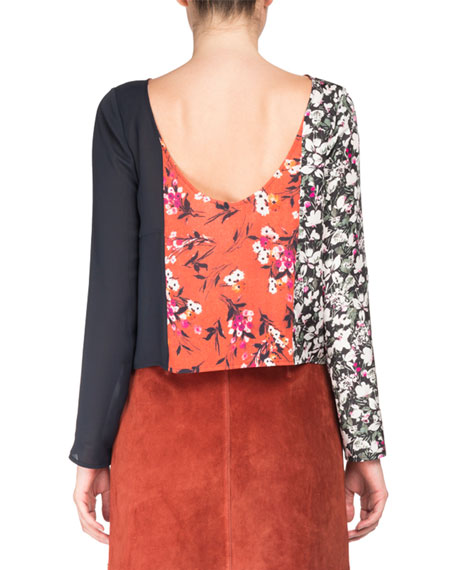 Loretta Mixed Floral-Print Long-Sleeve Scoop-Back Top