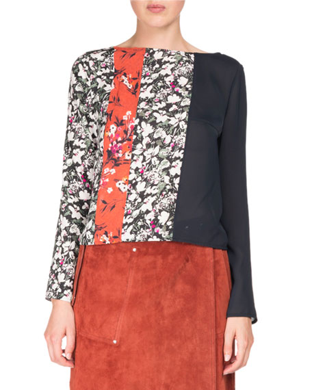 Acne Studios Loretta Mixed Floral-Print Long-Sleeve Scoop-Back