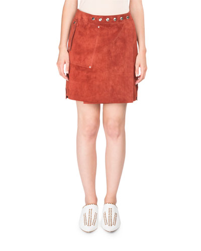 Suede A-Line Skirt w/ Snap Details