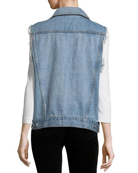Patti Oversized Distressed Denim Vest