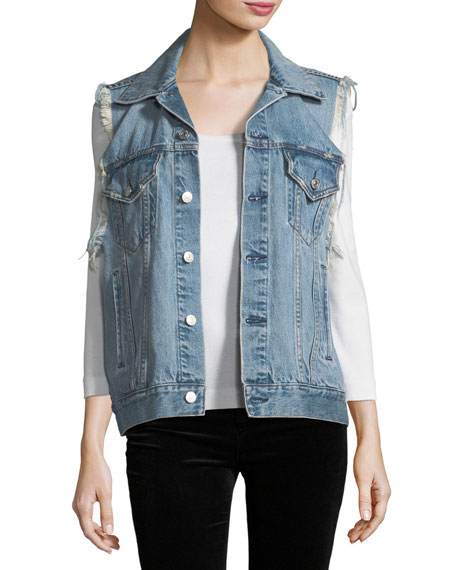 Acynetic Patti Oversized Distressed Denim Vest