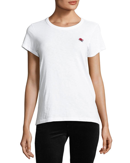 Rose Embroidered Slim-Fit Crewneck Tee