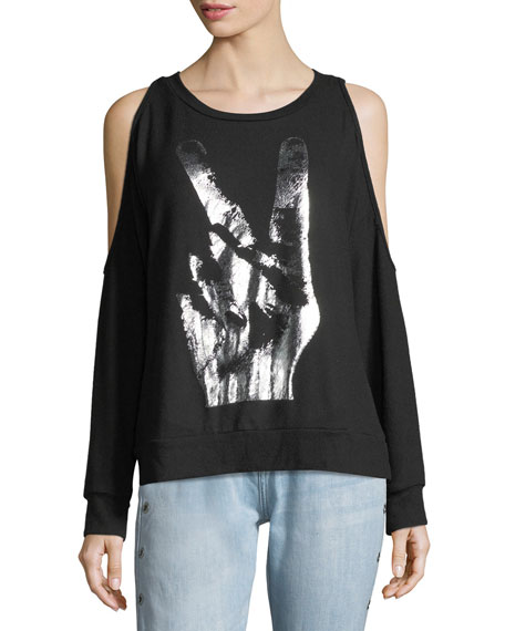 Lauren Moshi Steph Graphic Cold-Shoulder Sweatshirt
