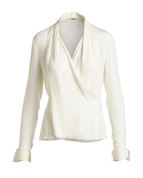 Shelly Long-Sleeve Surplice Silk Blouse