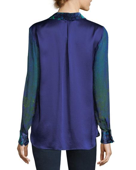 Martha Long-Sleeve Snap-Front Printed Silk Blouse