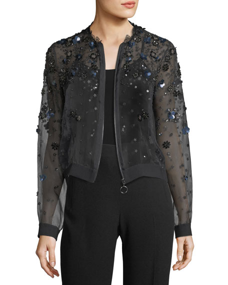 Elie Tahari Zarinah Sheer Embellished Silk Jacket