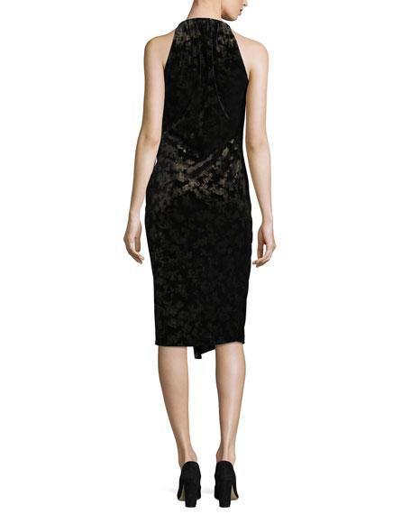 Belecia Sleeveless Faux-Wrap Velvet Dress, Black/Gold