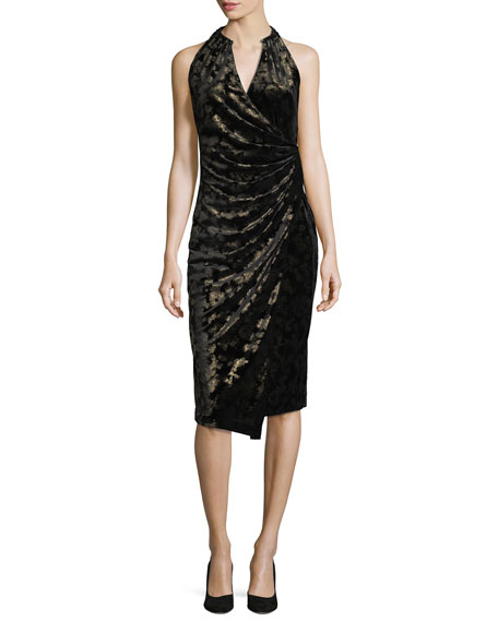 Belecia Sleeveless Faux-Wrap Velvet Dress, Black/Gold
