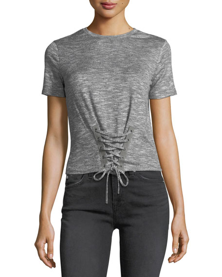 Corset-Laced Short-Sleeve Tee