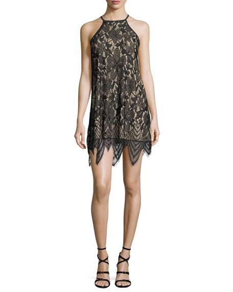 Halter-Neck Lace Sheath Dress