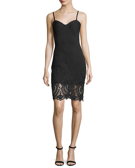 Sleeveless Beaded Lace Hem Slip Cocktail Dress