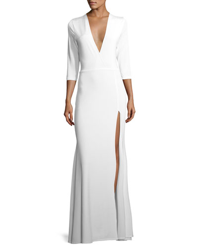 Linda Plunging High-Slit Faux Wrap Evening Gown