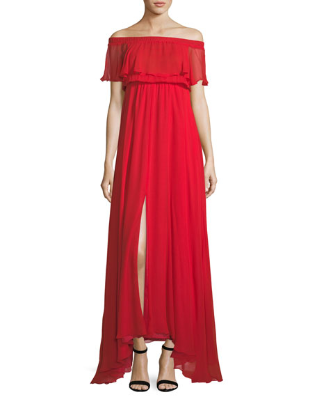 Lurelly Sol Off-the-Shoulder Ruffle Chiffon Evening Gown