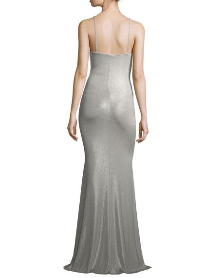 Deep V Sleeveless Shimmer Maxi Slip Dress